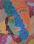 tableau personnages visage jumelles femme portait : Les Jumelles (Mosaïque)