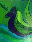 tableau abstrait mer licorne mythologie eau : Licorne des mers