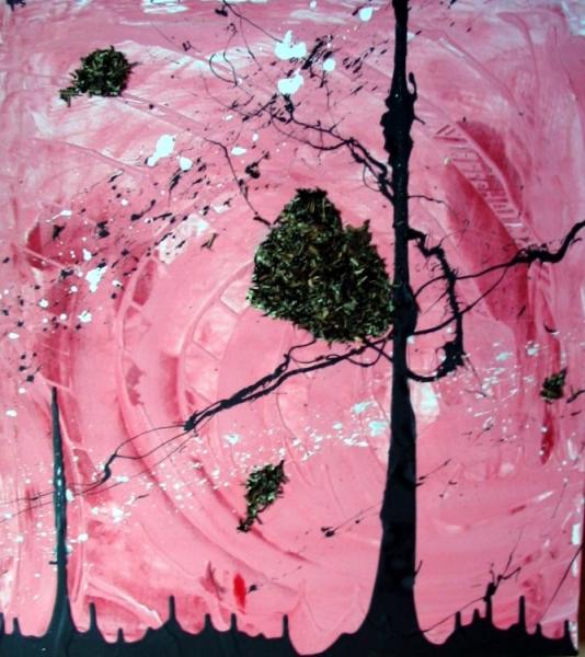 TABLEAU PEINTURE abstrait arbre Abstrait Acrylique  - Arbre à thé