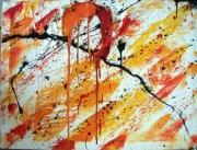 tableau abstrait abstrait soleil : Soleil coulant