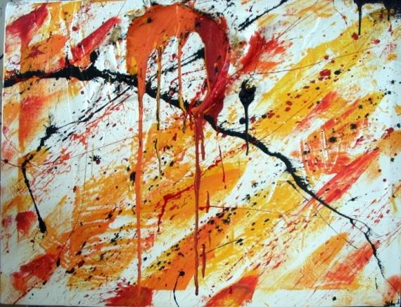 TABLEAU PEINTURE abstrait soleil Abstrait Acrylique  - Soleil coulant