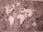 dessin abstrait stylo papier dessin abstrait : le monde