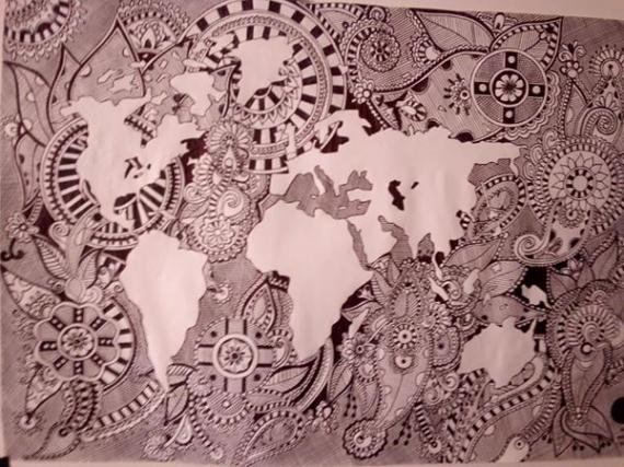DESSIN stylo papier dessin abstrait Abstrait  - le monde