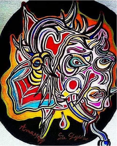 DESSIN Surréalisme Psychédélique Art Abstrait Couleurs Abstrait  - La Diseuse de Bons Dires