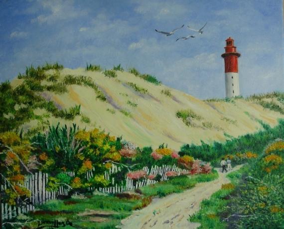 TABLEAU PEINTURE PHARE CAYEUX BAIE DE SOMME Marine Peinture a l'huile  - BAIE DE SOMME ( cayeux/mer )