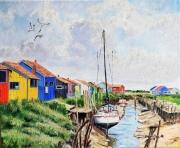 tableau marine cabanes colorees charente maritime : CABANES DE PÊCHEURS