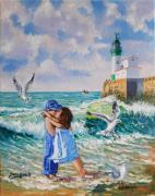 tableau marine amour mer le treport : AMOUR DE VACANCES ( le TREPORT )