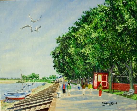 TABLEAU PEINTURE ST VALERY QUAI JEANNE D'ARC SOMME Marine Peinture a l'huile  - BAIE DE SOMME t Saint Valery/Somme)