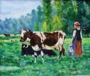 tableau paysages paeturage vaches traite nature : PÂTURAGE DE NORMANDIE