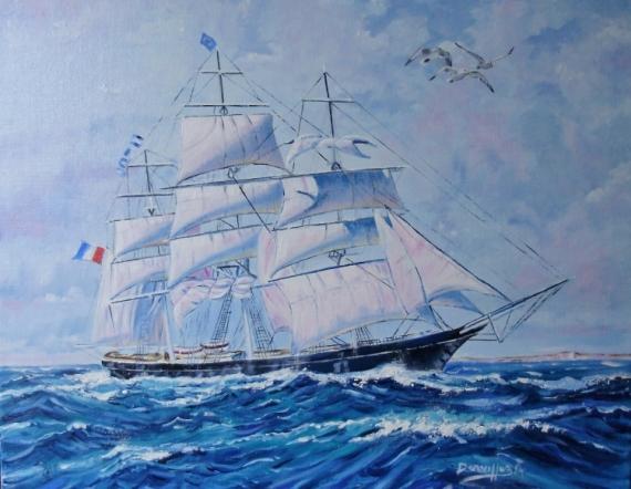 TABLEAU PEINTURE LE VOILIER VENT MER Marine Peinture a l'huile  - VOILIER