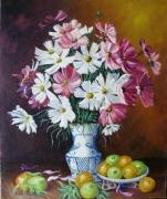 tableau nature morte le vase fruits fleurs : VASE DE FLEURS