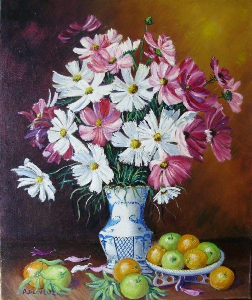 TABLEAU PEINTURE LE VASE FRUITS FLEURS Nature morte Peinture a l'huile  - VASE DE FLEURS