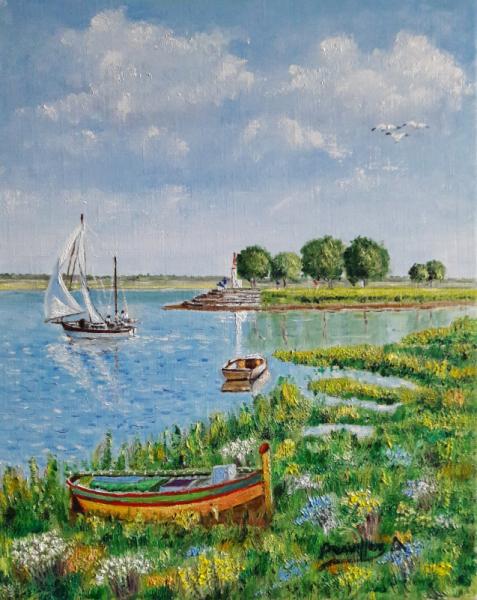 TABLEAU PEINTURE le phare st valery/somme Marine Peinture a l'huile  - BAIE DE SOMME t Saint Valery/Somme)