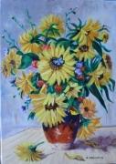 tableau fleurs vase de fleurs tournesols : LE VASE DE TOURNESOLS