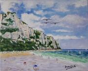 tableau marine le treport falaises mer : LES FALAISES DU TREPORT