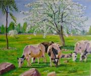 tableau paysages paysage printemps vaches nature : PAYSAGE DE NORMANDIE