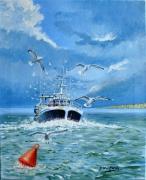 tableau marine le treport bateau mer : RETOUR DE PÊCHE ( le TREPORT )