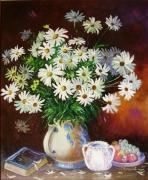 tableau fleurs nature morte vase marguerites : BOUQUET DE MARGUERITES