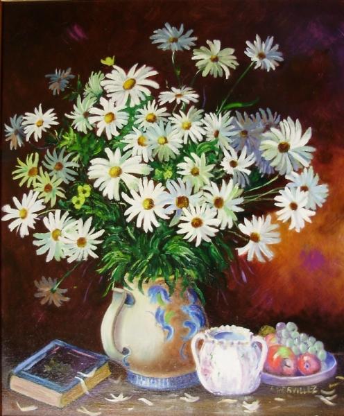 TABLEAU PEINTURE NATURE MORTE VASE MARGUERITES Fleurs Peinture a l'huile  - BOUQUET DE MARGUERITES