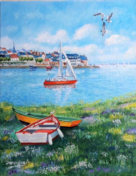 PAINTING ST VALERY BAIE DE SOMME Marine Peinture a l'huile  - BAIE DE SOMME t Saint Valery/Somme)