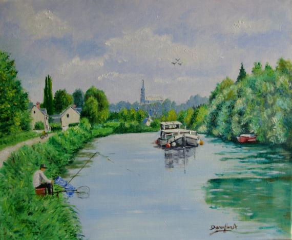 TABLEAU PEINTURE CANAL DE LA SOMME Paysages Peinture a l'huile  - CANAL DE LA SOMME