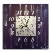 tableau abstrait tableau horloge pendule violet : Tableau horloge violet et argent moderne contemporain abstrait p