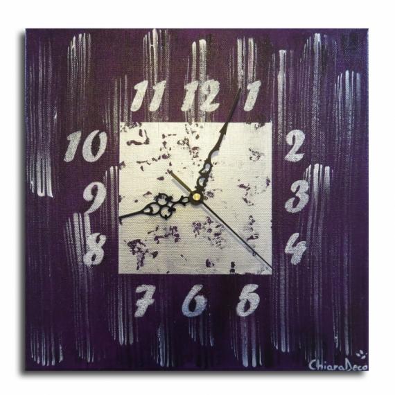TABLEAU PEINTURE tableau horloge pendule violet Abstrait Acrylique  - Tableau horloge violet et argent moderne contemporain abstrait p