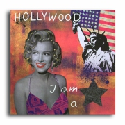 painting personnages marilyn monroe usa new york design : Tableau marilyn monroe usa new york statue rose