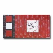 tableau abstrait horloge pendule grand rouge : GRAND Tableau toile horloge rouge argent noire moderne design pe