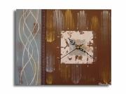 tableau abstrait marron beige gris horloge : tableau horloge ivoire