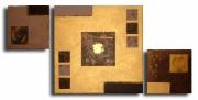 """tableau abstrait dore triptyque marron contemporain : tableau """" le coeur d'or """""""
