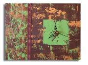 tableau abstrait horloge marron horloge vert marron vert : tableau horloge vert