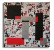 tableau abstrait rouge carre blanc noir : tableau dispersion III