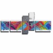 tableau abstrait tableau design xxl colore : Tableau XXL moderne design coloré arc en ciel bleu violet rouge