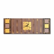 tableau abstrait horloge pendule marron dore : Tableau toile horloge marron beige or moderne design