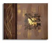 tableau abstrait horloge tableau marron toile moderne marron : Tableau Horloge Marron