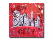tableau villes new york design rouge tableau : Tableau toile design new york manhattan rouge noir