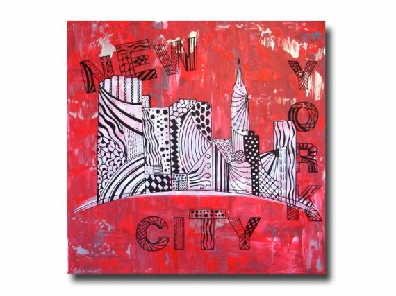 TABLEAU PEINTURE new york design rouge tableau Villes Acrylique  - Tableau toile design new york manhattan rouge noir