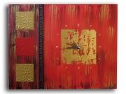 tableau abstrait rouge dore carre horloge : tableau horloge dorée