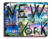 tableau villes toile photo new york design : Tableau new york city noir bleu rose moderne design