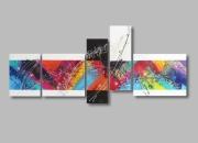 tableau abstrait design colore xxl bleu : Tableau XXL abstrait coloré arc en ciel bleu violet rouge jaune