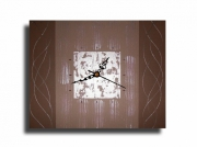 tableau abstrait pendule horloge marron beige : Tableau toile horloge marron beige gris pendule murale