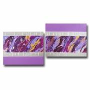 tableau abstrait tableau moderne violet mauve : Tableau toile mauve parme prune rose purple argent doré contempo
