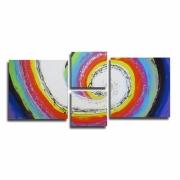 tableau abstrait xxl colore peinture moderne : Tableau XXL moderne UNIQUE abstrait coloré arc en ciel bleu viol