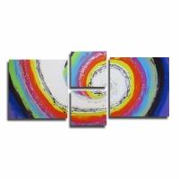 Tableau XXL moderne UNIQUE abstrait coloré arc en ciel bleu viol