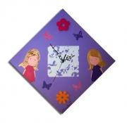 tableau personnages tableau horloge fille rose : tableau horloge rose mauve orange décoration chambre bébé enfant