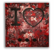 "painting abstrait tableau rouge tableau ,i love new york toile rouge : Tableau "" I love ... """