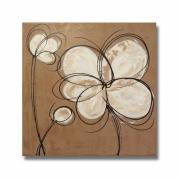 tableau fleurs tableau fleur marron moderne : Tableau carré toile fleur marron beige blanc taupe de chiaradeco