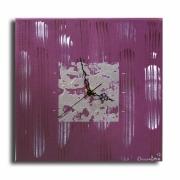 tableau abstrait horloge pendule prune moderne : Tableau horloge prune parme moderne contemporain abstrait pendul