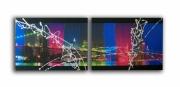 painting villes toile new york manhattan design : Tableau toile new york manhattan pont collage photos bleu rose v